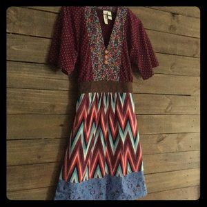 Cotton/spandex multi-pattern dress
